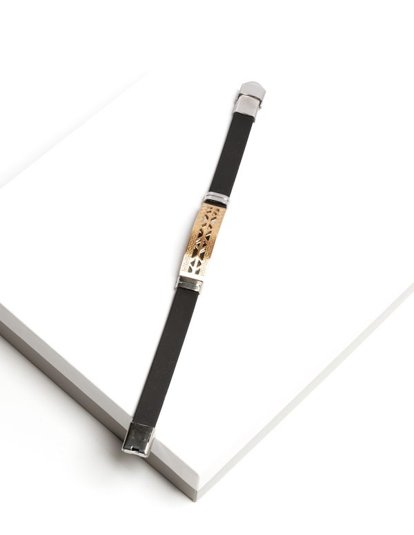 Callel Gold Plated Stainless Steel and Black Ruber Mens Bracelet