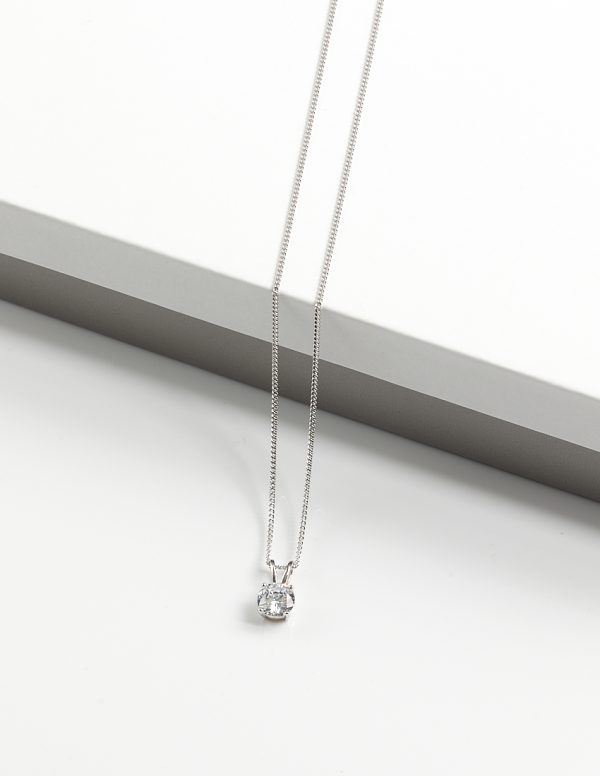 Callel 925 Sterling Silver Round CZ Pendant Necklace