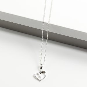 925 Sterling Silver Cubic Zirconia Heart Pendant Necklace