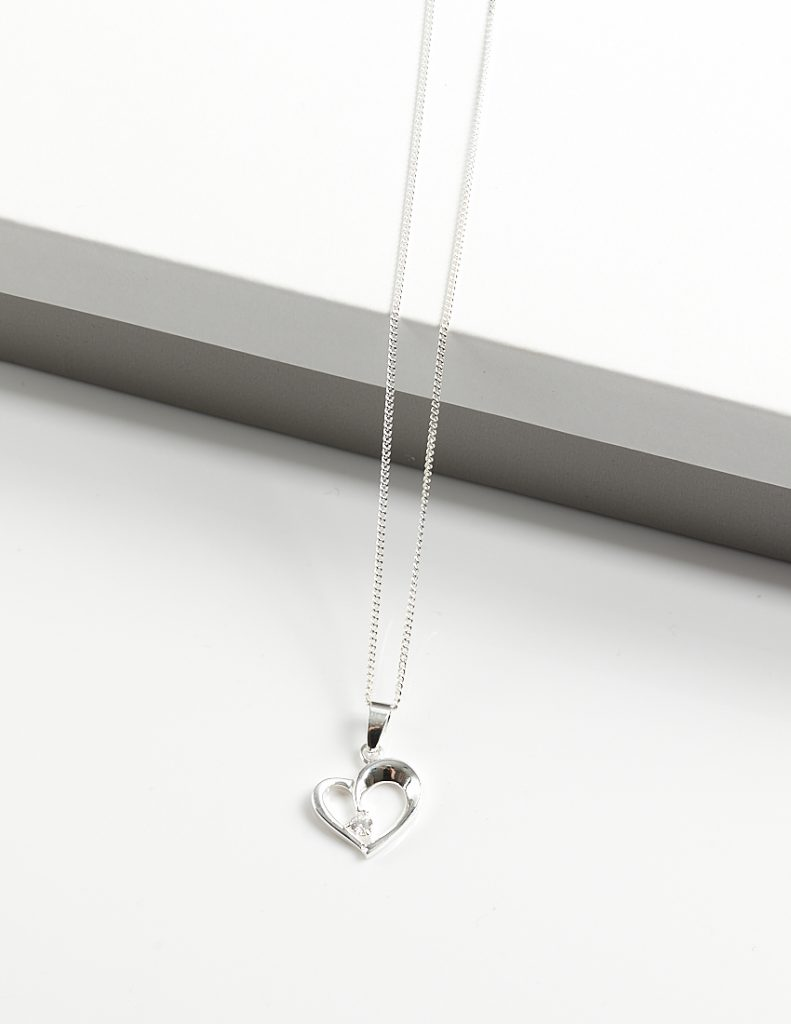 Callel 925 Sterling Silver CZ Heart Pendant