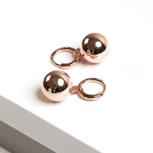 Rose Gold Highly Polished Ball Huggie Drop Earrings