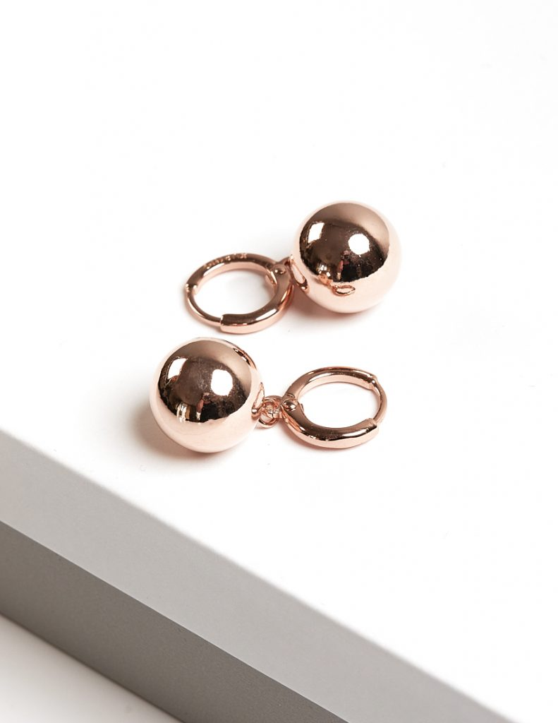 Callel Rose Gold Color Highly Polished Ball Huggie Drop Earrings