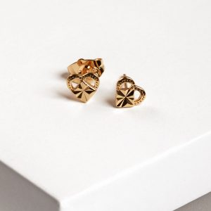 24K Heart Stud Earrings