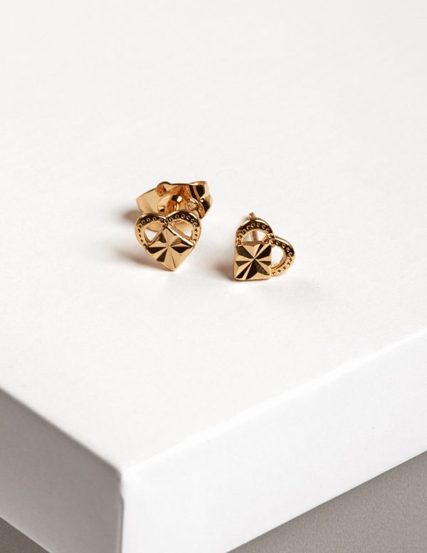 Callel 24K Gold Heart Stud Earrings
