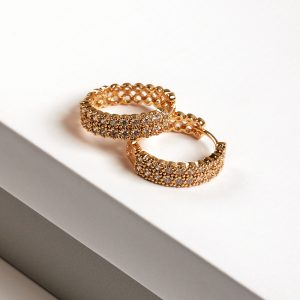 24K Gold Cubic Zirconia Huggie Hoop Earrings