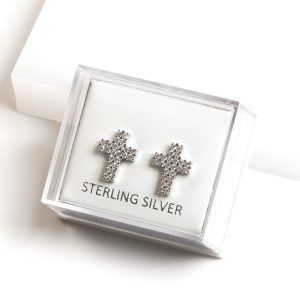 925 Sterling Silver Clear Cubic Zirconia Cross Stud Earrings
