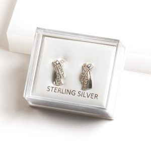 925 Sterling Silver Clear CZ X Stud Earrings