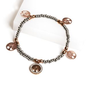 Silver & Rose Gold Bead Tree Of Life Bracelet