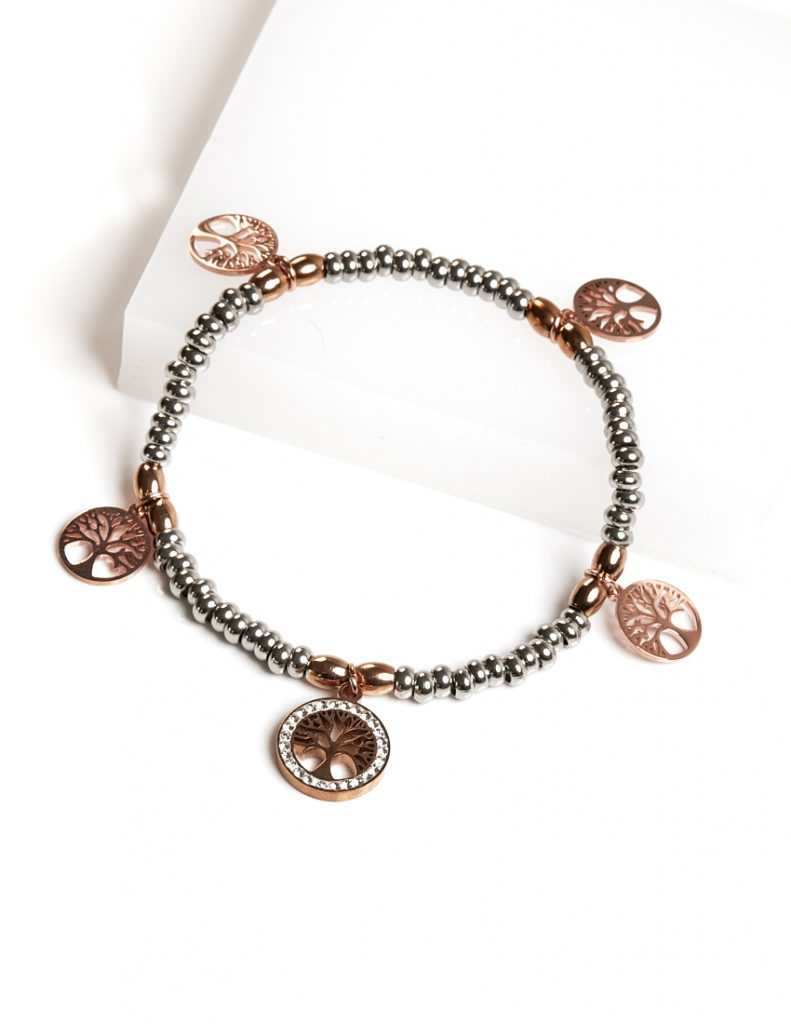 Callel Silver & Rose Gold Bead Tree Of Life Bracelet