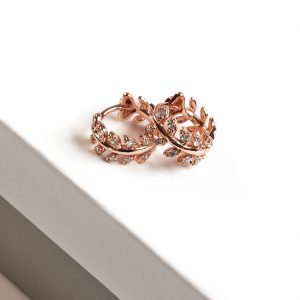 Rose Gold Cubic Zirconia Leaf Huggie Hoop Earrings