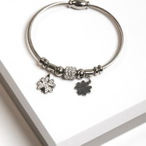 Silver Cubic Zirconia Four Leaf Clover Charm Bracelet