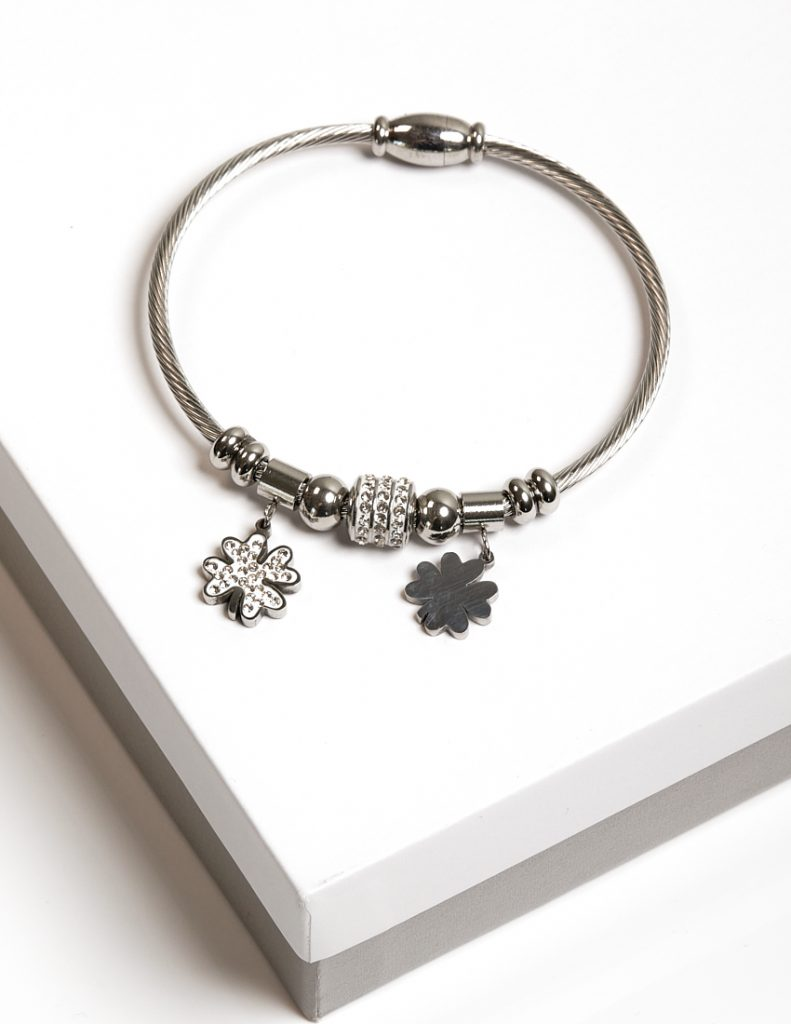 Callel Silver CZ Four Leaf Clover Charm Bracelet