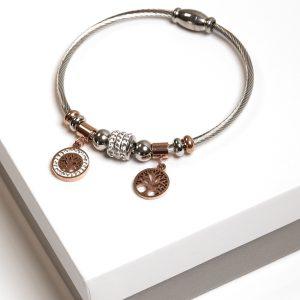 Silver & Rose Gold Tree Of Life Charm Bracelet