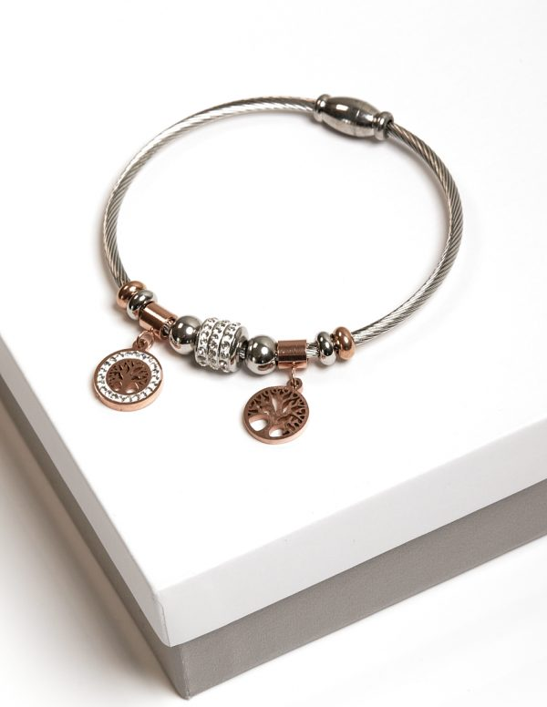 Callel Silver & Rose Gold Tree Of Life Charm Bracelet