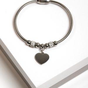 Callel Silver CZ Heart Charm Bracelet