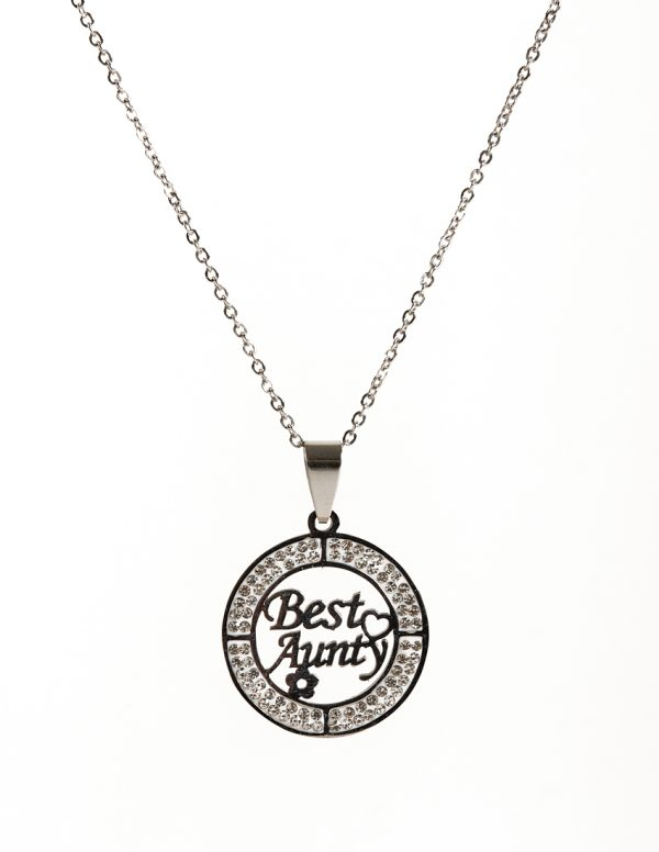 Callel Stainless Steel Best Aunty Pendant Necklace