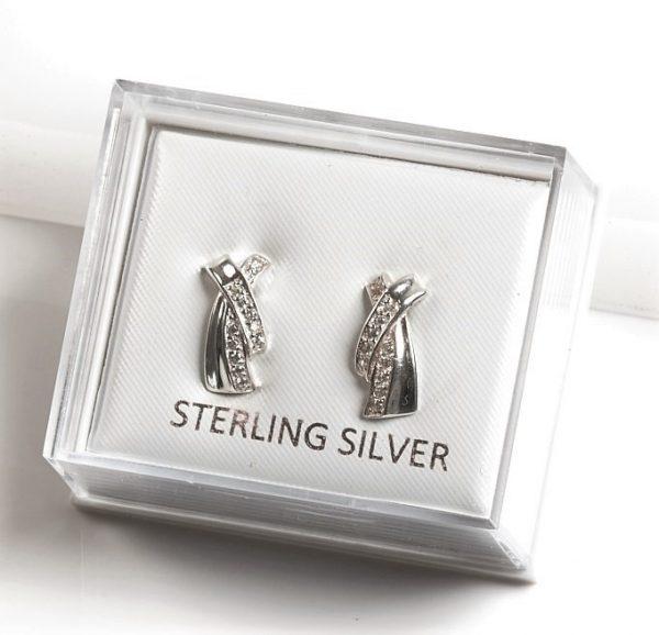 Callel 925 Sterling Silver Clear CZ X Stud Earrings