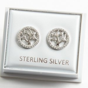925 Sterling Silver Clear Cubic Zirconia Tree of Life Stud Earrings