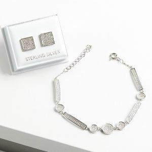 925 Sterling Silver Clear Cubic Zirconia Earrings & Bracelet Jewellery Set