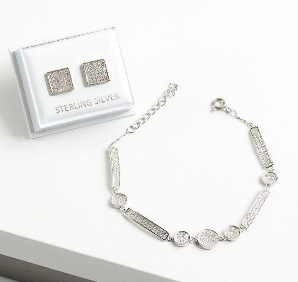 Callel 925 Sterling Silver Clear CZ Earrings & Bracelet Jewellery Set