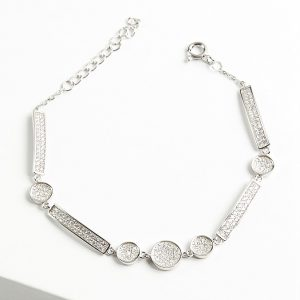 925 Sterling Silver Clear Cubic Zirconia Multi Shaped Bracelet