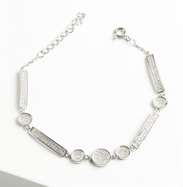 Callel 925 Sterling Silver Clear Cubic Zirconia Multi Shaped Bracelet