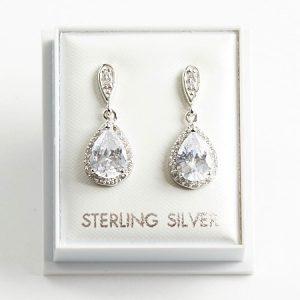 925 Sterling Silver Clear Cubic Zirconia Teardrop Drop Earrings
