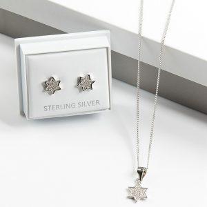 925 Sterling Silver Clear Cubic Zirconia Star Necklace & Earrings Jewellery Set