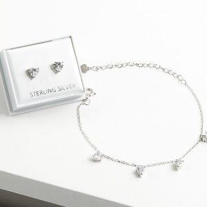 925 Sterling Silver Clear Cubic Zirconia Heart Earrings & Bracelet Jewellery Set