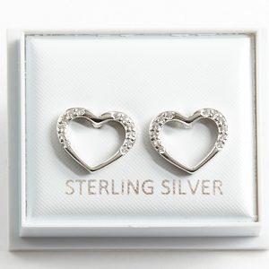 925 Sterling Silver Clear CZ Open Heart Stud Earrings