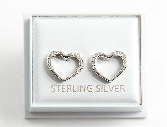 Callel 925 Sterling Silver Clear CZ Open Heart Stud Earrings