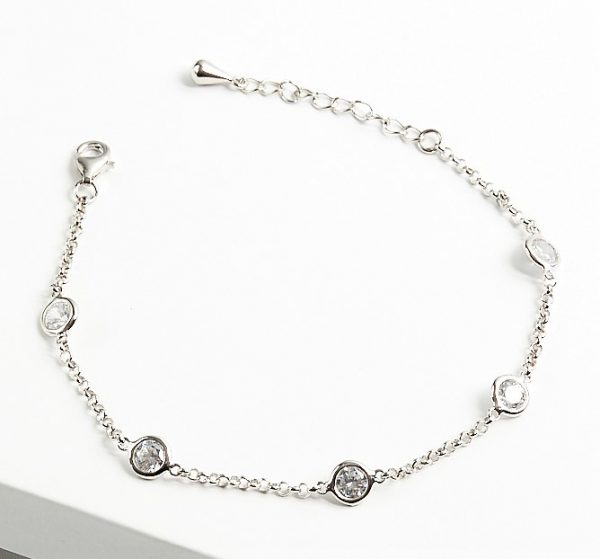 Callel 925 Sterling Silver Clear CZ Stones Bracelet