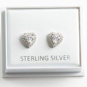 925 Sterling Silver Cubic Zirconia Heart Earrings