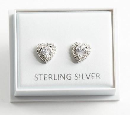 Callel 925 Sterling Silver Cubic Zirconia Heart Earrings