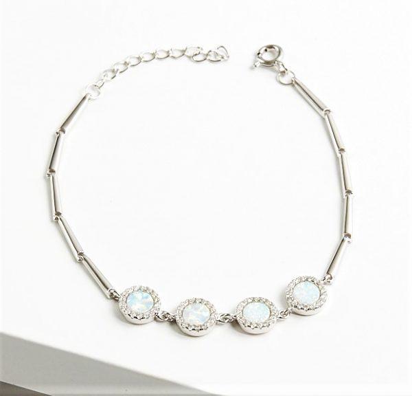 Callel 925 Sterling Silver Clear CZ & White Opal Bracelet