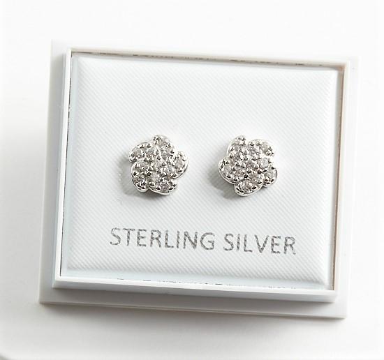 Callel 925 Sterling Silver Swirl Flower CZ Stud Earrings