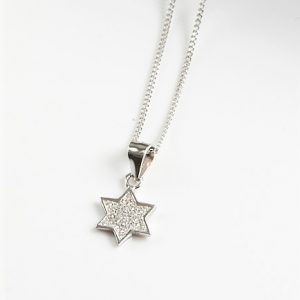 925 Sterling Silver Clear Cubic Zirconia Star Pendant Necklace