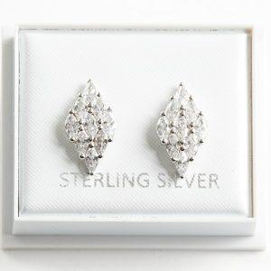 925 Sterling Silver Clear Cubic Zirconia Rhomb Stud Earrings