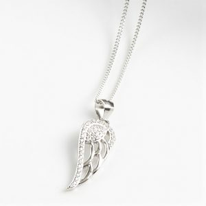 925 Sterling Silver Clear Cubic Zirconia Angel Wing Pendant Necklace