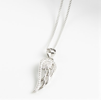 Callel 925 Sterling Silver Clear CZ Angel Wing Pendant Necklace