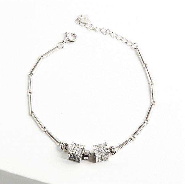 Callel 925 Sterling Silver Clear Cubic Zirconia Cube Bracelet