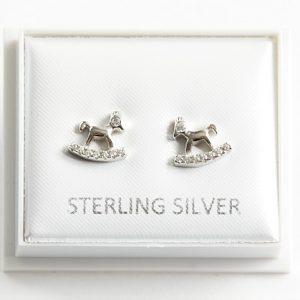 925 Sterling Silver Clear Cubic Zirconia Rocking Horse Stud Earrings