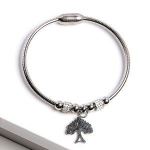 Silver Cubic Zirconia Tree Charm Bracelet