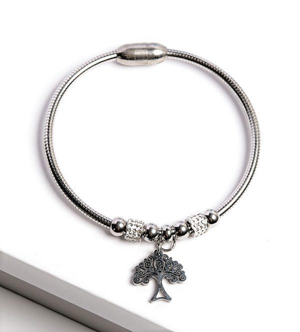 Callel Silver Cubic Zirconia Tree Charm Bracelet