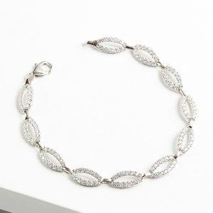 925 Sterling Silver Tear Shape Clear Cubic Zirconia Bracelet