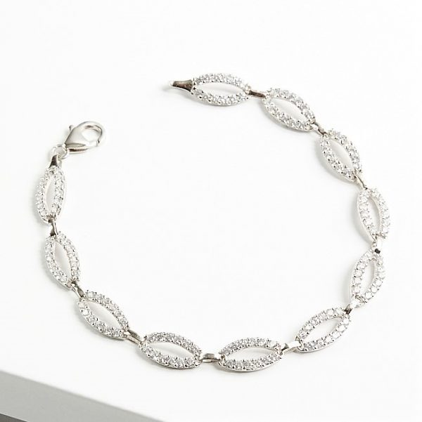 Callel 925 Sterling Silver Tear Shape Clear CZ Bracelet