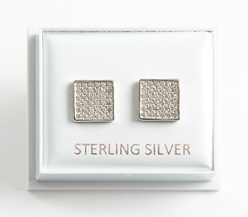 Callel 925 Sterling Silver Clear CZ Square Stud Earrings
