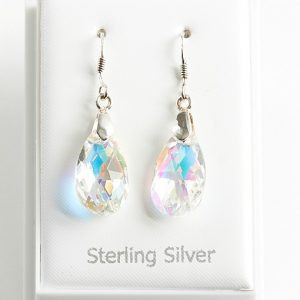 925 Sterling Silver Dangle Earrings Embellished With Rainbow AB Crystal From Swarovski