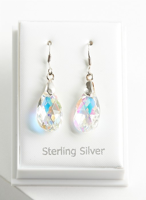 Callel Sterling Silver Dangle Earrings Ebellished with Crystal From Swarovski