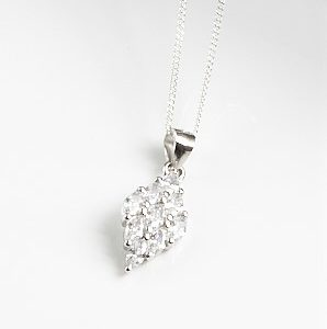 925 Sterling Silver Clear Cubic Zirconia Rhomb Pendant Necklace